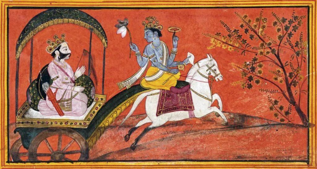 Krishna conduit le char d'Arjuna École pahāṛī, Kāṇgrā, vers 1780. Gouache et or sur papier. National Museum, New Delhi• Crédits:© Courtesy of the National Museum, New Delhi/photo Munish Khanna