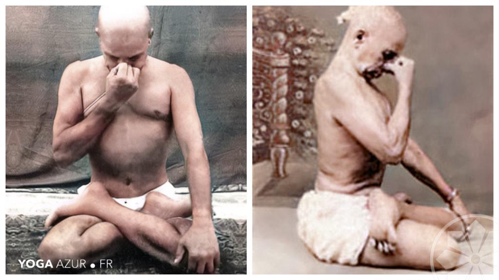 Sri Krishnamacharya pratiquant un Pranayama avec le mudra du daim